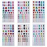 Adesivo Strass appiccicoso gemme di cristallo autoadesive per artigianato fai da te per bambini Gioielli multicolori di bling per viso, unghie, decorazioni per scrapbooking 6 fogli