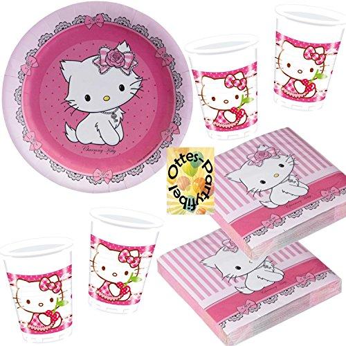 Charmmy Hello Kitty 52tlg. Servietten Becher Teller für 16 Gäste (Party Hello Kitty Deko)