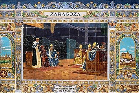 639020 Zaragoza Tile The Accord Of Caspe (1412) Seville Spain A4 Photo Poster Print 10x8