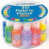 Baker Ross 3D Textilfarbe - Vorteilspack mit 18 Farben -