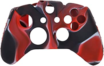 Generic Camo Soft Silicone Protective Skin Case Cover for XBOX ONE Game Controller--Red with Black