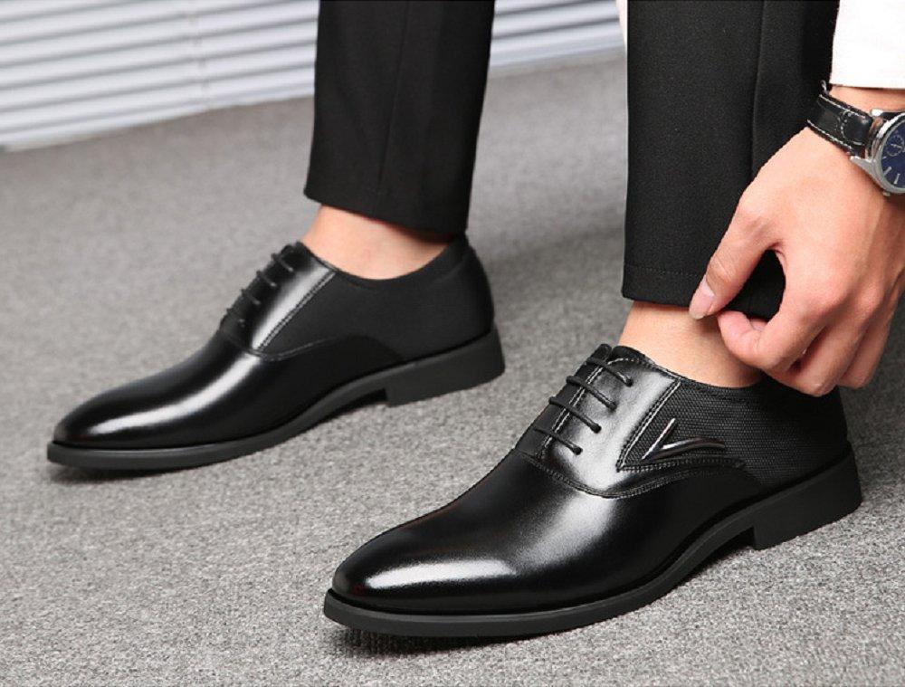 eefde683 Zapatos Oxford Hombre, Cuero Derby Vestir Cordones Calzado Brogue Boda  Negocios Moda Negro Marron Rojo
