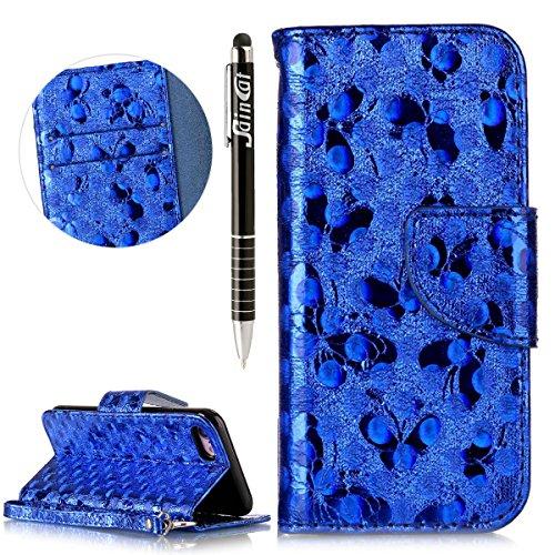 Custodia iPhone 7, iPhone 7 Flip Case Leather, SainCat Custodia in Pelle Cover per iPhone 7, Anti-Scratch Book Style Protettiva Caso Elegante Creativa Dipinto Pattern Design PU Leather Flip Portafogli blu