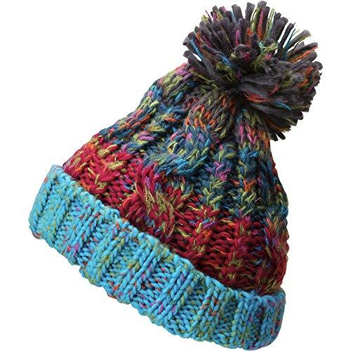 MYRTLE BEACH bonnet tricot avec pompon - MB7104 - mixte homme femme - Taille unique turquoise-melange