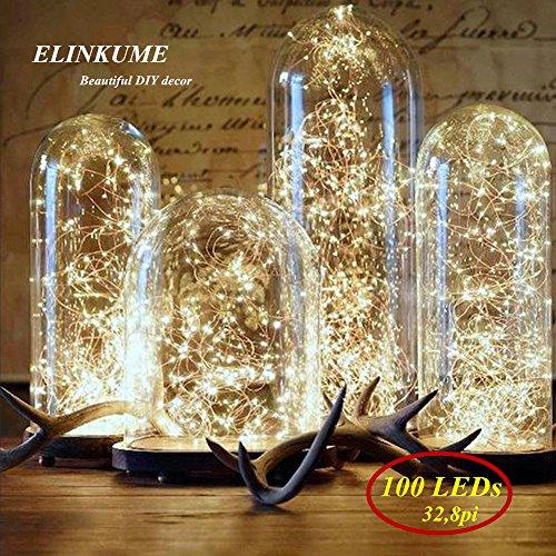 ELINKUME 100LED 32,8 Pi Fil de Cuivre LED Guirlande Lumineuse 2 Modes Puissance de la Batterie Blanc Chaud éclairage de décoration pour Noël/Partie