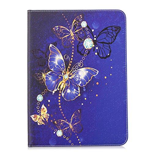 MoreChioce kompatibel mit Galaxy Tab S2 9.7 Hülle,Bunt Lila Schmetterling Leder Schutzhülle Tablet Smart Stand Case Ledertasche kompatibel mit Galaxy Tab S2 9.7 T810 T813 T815 T819,EINWEG - Lila S2 Case