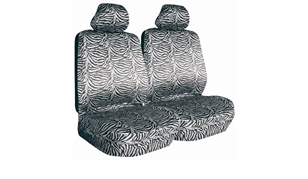 Safari Black Zebra Print Low Bucket Seat Cover Allison 67-1804BLK