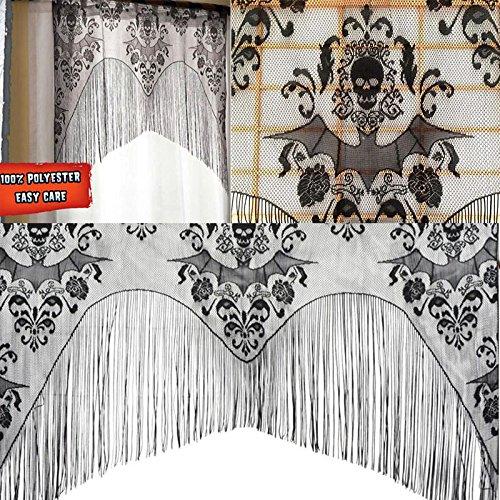 Kicode Schwarzer Schädel Bat Web Vorhang Volant Topper Schal Halloween Geister Haus Dekorationen Quaste