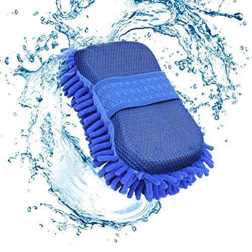 Chenille Lavado de coches esponja, EFORCAR doble cara Lavado de coches esponja con construido en correa de mano, prima de microfibra absorbente y Scratch-Libre Lavado de coches esponja (azul)