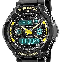 QBD Jungen Mädchen digital-analog Digitale Sport-Armbanduhr mit Alarm Stoppuhr Chronograph-50m Wasser Proof (SH gelb)
