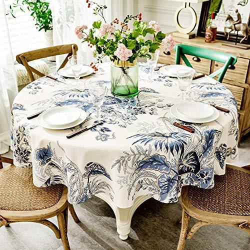 BATSDCB Elegante Kreisförmige Tisch-Abdeckung, Spritzwassergeschützte Waschbar Polyester...