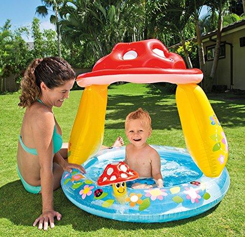 Babypool mit Sonnendach Pilz - Planschbecken - Babypool - Babyplanschbecken