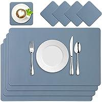 BaoWnylz Set de 4 Sets de Table en Cuir PU, Lavables et Imperméables 45 x 30 cm Sets de Table Bleu avec Dessous de Verre…
