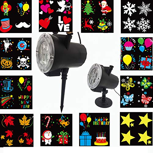 Christmas Halloween Gif LED Schneefall Projektor 12PCS Schaltbare Ultra High Helligkeit Spotlight Abnehmbare Outdoor IP65 Wasserdichte Animation Magic Mode Anime Garden Courtyard Pool (De Halloween Gifs)