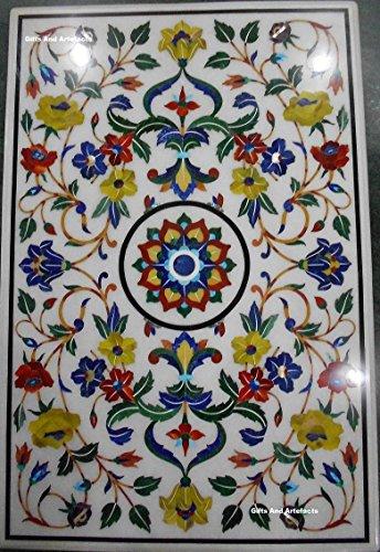 91,4x 61cm weiß Marmor Terrasse Esstisch Top mit Luxus Masterpiece Floral Design