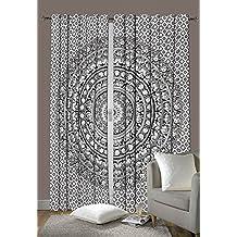 Cortinas para ventanas de dormitorio Mandala de elefante indio, tapices, paneles de tratamiento de ventanas, juego de decoración Boho. 233 X 208 cm aproximadamente