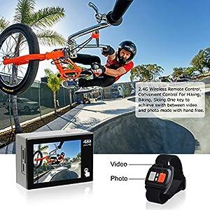 Campark X20 Cámara Deportiva 4K 20MP WiFi Cámara Acuatica de 40M con Pantalla Táctil Dual Control Remoto, Funciones EIS, 2 Baterías y Kit de Accesorios