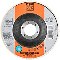 120 Girt Zirconia Alumina 5//8-11 Thread 12200 RPM PFERD 63038 POLIFAN Type 29 Conical Flap Disc 5 Diameter