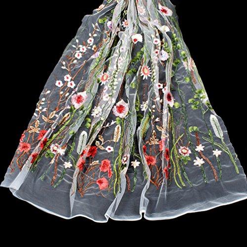 Hongma 1 Yard Spitzenstoff mit Blumen Stickrei für Brautkleid Hochzeit Weiß Schwarz Grau Blau DIY
