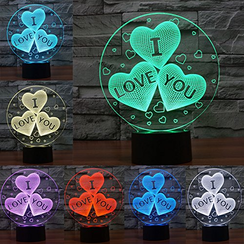 Fars 3d LED Lampada di notte, la forma colorata di lampada magica illusione 3d, Camera Decorazione Luce regalo, controllo touch 7colori cambiano lampade da scrivania USB alimentato