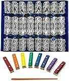 Ensemble de 8 pingouins de notes musicales Craquelins de Noël en argent de Crackers Ltd (Cat F1)