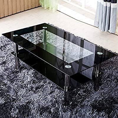 8 mm Rectangle Clear Glass Coffee Table Clear Black Side With Shelf Double-deck 4 stainless steel Legs - low-cost UK light store.