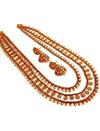 Traditional Copper Gold Three Line Layer Necklace Set With Jhumka Earring For Women Necklace Jewellery.