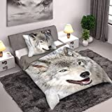 Wild Collection Wolf Einzelne Duvet Set 140 x 200cm / 70 x 90cm (Wolf 140 x 200)