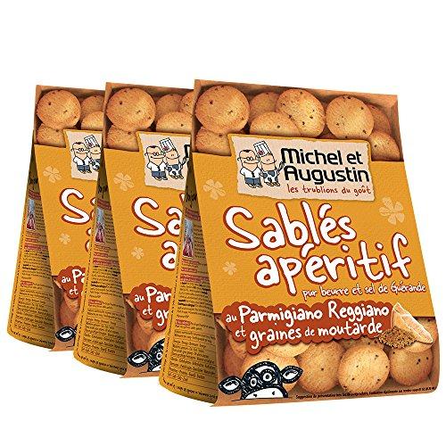 Michel et Augustin Sablés Apéritifs Parmesan Moutarde 120 g - Lot de 3
