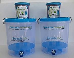 Bokashi Bran Indoor Compost Bin for Converting All Kitchen Food Waste Into Fertilizer,15L Bins - Set of 2