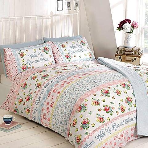 Just Contempo Blumenmuster Bettbezug Set, Double, blau, Pink,