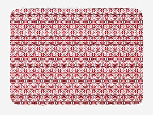 CHKWYN Black and White Bath Mat, Red Umbrella on a Dark Narrow Street in Tuscany Italy Rainy Winter, Plush Bathroom Decor Mat with Non Slip Backing, Grey Vermilion,15.7X23.6 inch