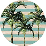 Cuadros Lifestyle 2D-Wandobjekt aus Holz | Palmen | Streifen | Wandteller | Holzbild | Shabby-Look | Landhaus | Vintage | Holzobjekt | Deko | Holzdruck | Geschenk, Größe:ca. 40x40cm