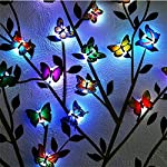 Pink KitesPlastic LED 3D Butterfly Wall Sticker forBedroom Decoration (Multicolour) - Pack of 10