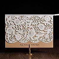 Wishmade bianco tagliato a Laser e inviti Nastro Royal Wedding Cards-Biglietto di auguri per fidanzamento (Baby Shower Inviti Libri)