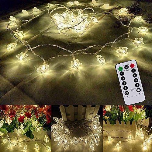 CORST® Batterie Lumières de corde, Étoile Décoratif String Lumières Alimentation par batterie, 16ft 40 LED étanche Pour l'extérieur, jardins, maisons, mariage, fête de Noël(blanc chaud)