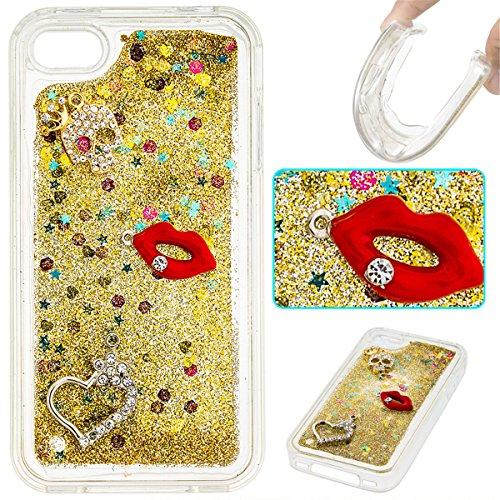 iPhone 4 Hülle, iPhone 4S Hülle, Gift_Source [ Gold ] Transparent Weiche Silikon Schutzhülle TPU Bumper Case Schutz Handy Hülle Case, Creative 3D strom flüssiger durchdrungen von glitzer und sterne Hü E1-Gold & Red Lippen