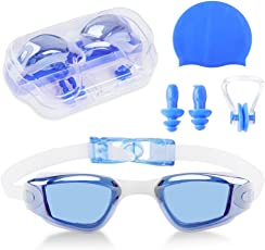 Kid Swim Goggles No Leak Waterproof 4-14 Years Old Silicone Swimming Goggles with Hat Nose Clip Ear Plugs
