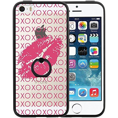 Coque iPhone SE, TrendyBox Transparent Noir Givré Anti-rayures Rotation Bague Case pour iPhone 5/5S/SE avec verre trempe film de protection (Mandala Fleurs) 1019