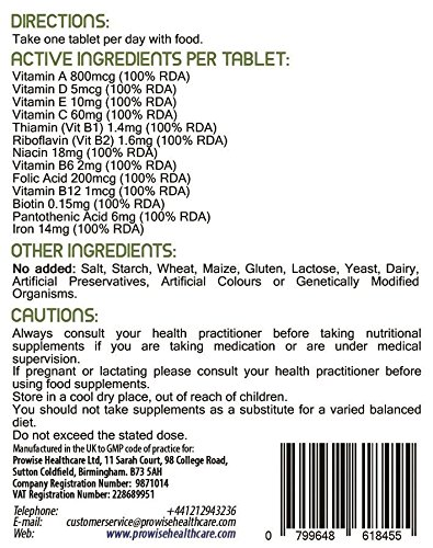Image of Multi Vitamins & Iron 180 Tablets ( 6 months dose ) - Daily One A Day Multi-Vitamin Supplement – UK manufactured to GMP Guaranteed Quality - Suitable for vegetarians & vegans