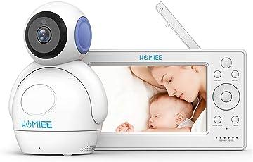 Video Babyphone,HOMIEE Babyphone 360 °Baby Kamera, 5 Zoll LCD Monitor und 300m 2,4G Wireless Verbindung, Wiederaufladbarer Monitor,Ton und Temperaturalarm, Nachtsicht, Wiegenlied und Zweiwege Audio
