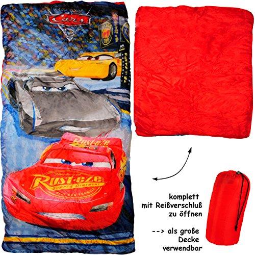 2 in 1 : Schlafsack & XL Decke - 150 cm -  Disney Cars / Lightning McQueen - Auto  - komplett aufklappbar - Kinder sehr leicht - Kinderschlafsack / für Jung.. ()