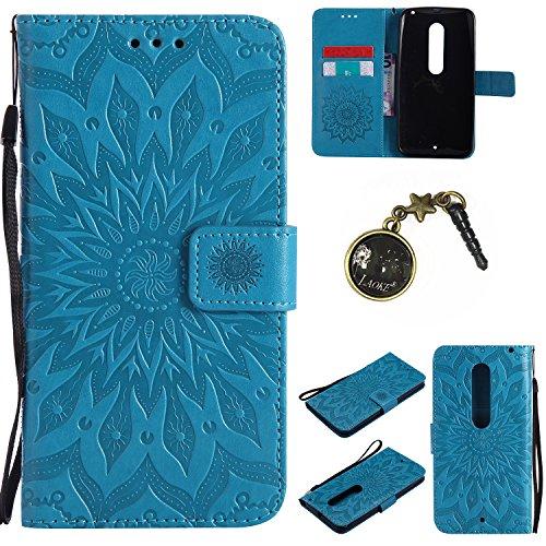 Preisvergleich Produktbild für Moto X Style Hülle,Hochwertige Kunst-Leder-Hülle mit Magnetverschluss Flip Cover Tasche Leder [Kartenfächer] Schutzhülle Lederbrieftasche Executive Design +Staubstecker (3GG)