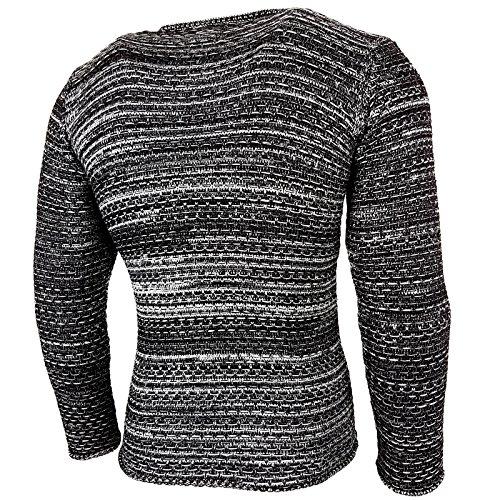 Rusty Neal Strickpullover Herren Winter Grobstrick Pullover Sweatshirt RN-13269 Schwarz / Grau