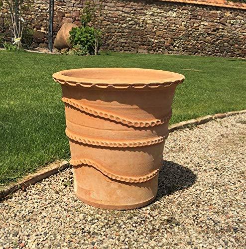 Kreta-Keramik, großer handgedrehter Terracotta Blumentopf, 40 cm, frostsicheres Pflanzgefäß aus Kreta, für Garten Terrasse, Acanthus (40 cm)