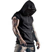 OEAK Men's sports vest Hoodie Tank Tops Sleeveless Gym Vest workout shirts Tank tops with hoodie and Loose Cut Men's…