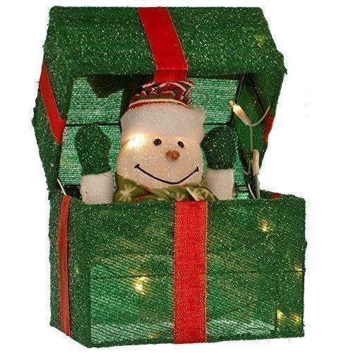 JACK IN THE BOX ELEKTRISCH GRÜN SCHNEEMANN WEIHNACHTEN WEIHNACHTSBELEUCHTUNG DISPALY BO (Weihnachts-display Schneemann)