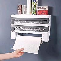BIRDLINE Plastic Triple Tissue Paper Dispenser 4 in 1 Foil Cling Film Tissue Paper Roll Holder for Kitchen Triple Paper…