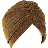 QHGstore Femmes Twist Plissé Ruffle Chemo Pre Tied Turban Cap cheveux envelopper Cover Up rouge
