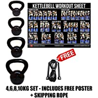 FXR 4, 6, 8, 10KG KETTLEBELLS STRENGTH TRAINING HOME GYM FITNESS KETTLEBELL SET
